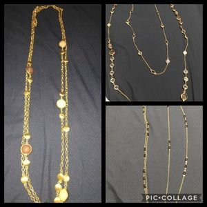 Jewelry - 3 double layer long gold necklaces